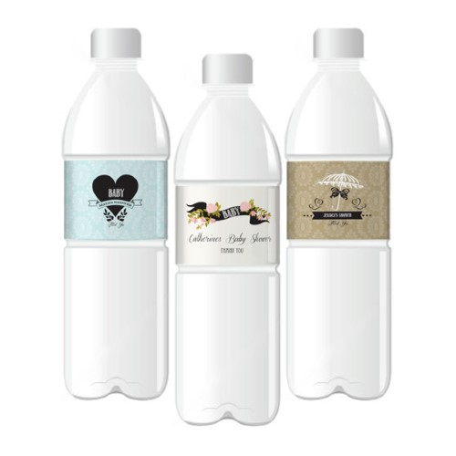 Vintage Baby Personalized Water Bottle Labels  - Wholesale baby shower favors