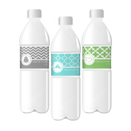 MOD Pattern Theme Water Bottle Labels  - Wholesale  Weddings