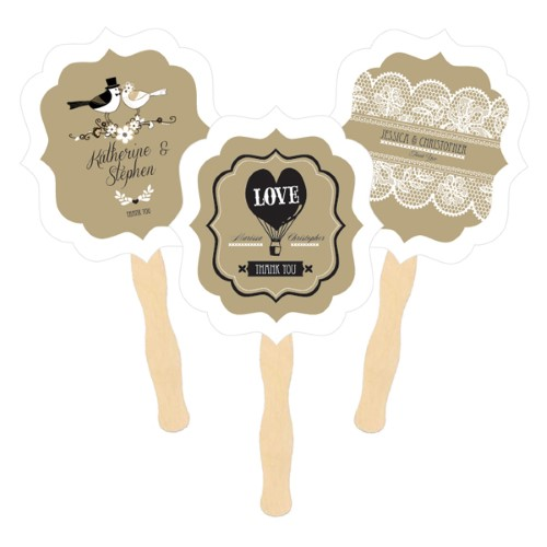 Personalized Paddle Fans - Vintage Wedding - Wholesale  Weddings