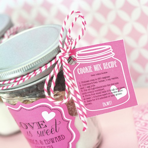 Cookie Mix Mason Jar Recipe Tags - Wholesale200  Weddings