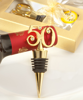 Golden 50th Anniversary Party Wine Bottle Stopperswholesale/wedding-favors-unique-wedding-favor-discount-wedding-favors/1946.jpg Wedding Supplies