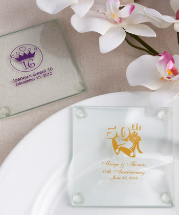 Anniversary Custom Personalized Glass Coasters Glassware200  Weddings
