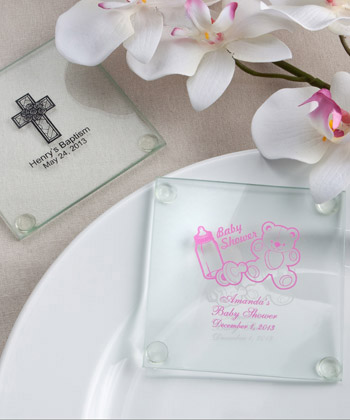 Baby Shower Custom Personalized Glass Coasters Glassware Favors