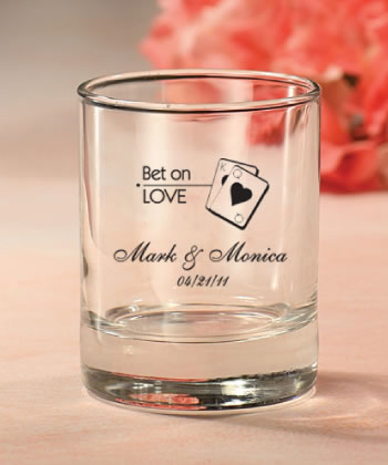 Las Vegas Custom Glassware Round Shot Glass Votive Candle  Weddings