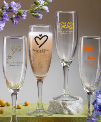 Custom Champagne Flutes Glassware - optional Gift Boxes  Weddings