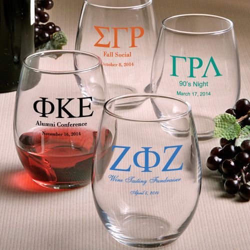 Custom Greek Personalized Glassware - Stemless Wine Glasses  Weddings