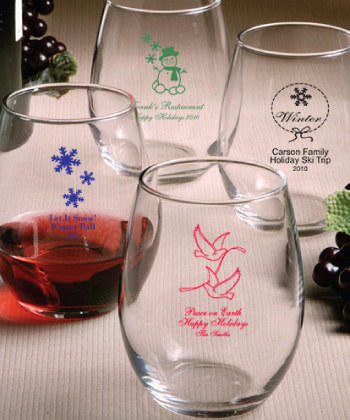 Custom Holiday Designs Stemless Wine Glasses Holiday Glassware  Weddings