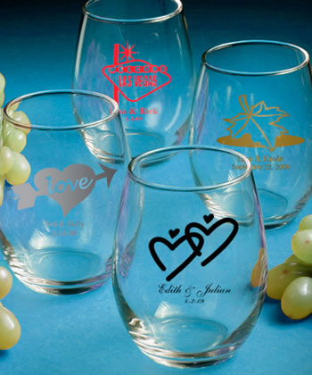 Custom Stemless Wine Glasses Personalized Glassware  Weddings