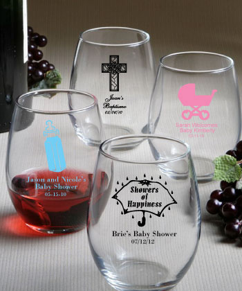 Baby Shower Party Custom Glassware - Personalized Stemless Wine Glasses200  Weddings