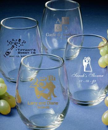 Custom Personalized Sweet 16 Glassware - Stemless Wine Glasses  Weddings