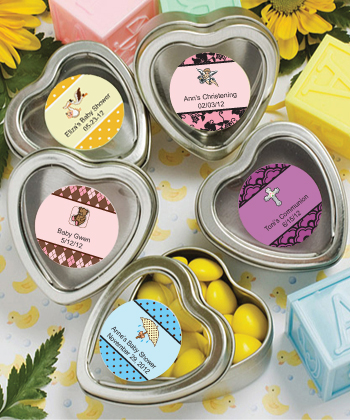 Baby Shower Silver Heart Shaped Mint Tins Party Favors baby shower favors