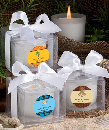 Personalized Candle Beach Favors Weddings