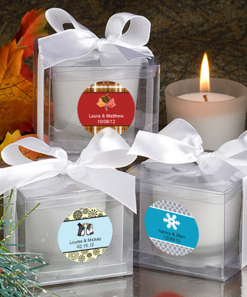 Personalized Winter Wedding Candle Favors200  Weddings