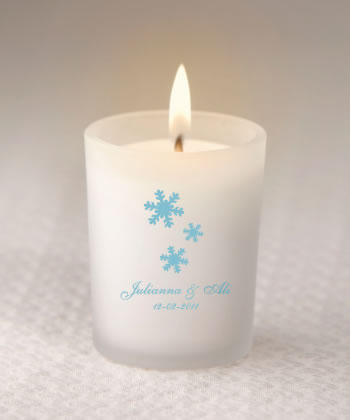 Custom Winter Themed Wedding Favors Frosted Candle Glassware  Weddings