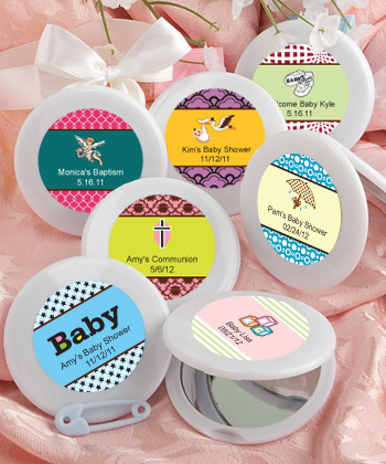 Personalized Mirror Compact Favors for Baby Party  Weddings