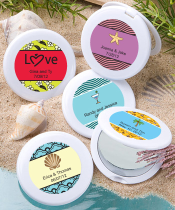 Personalized Beach Themed Wedding Mirror Compact Favors200  Weddings