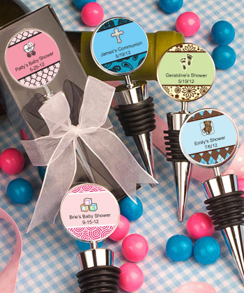 Personalized Baby Shower Wine Bottle Stopper Favors baby shower favors
