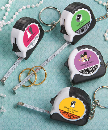 Personalized Key Chain Measuring Tape Favors  Weddings