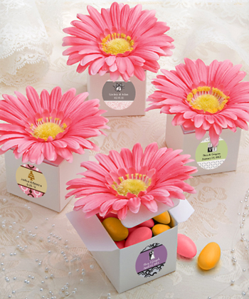 Classy Pink Gerbera Daisy Adorned Box Favors Weddings