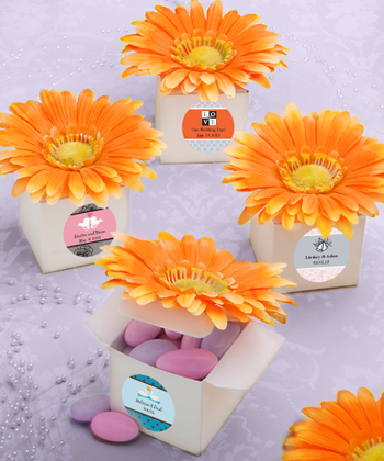 Classy Orange Gerbera Daisy Adorned Box Favors Weddings