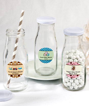 Design Your Own Vintage Style Baby Milk Bottles baby shower favors