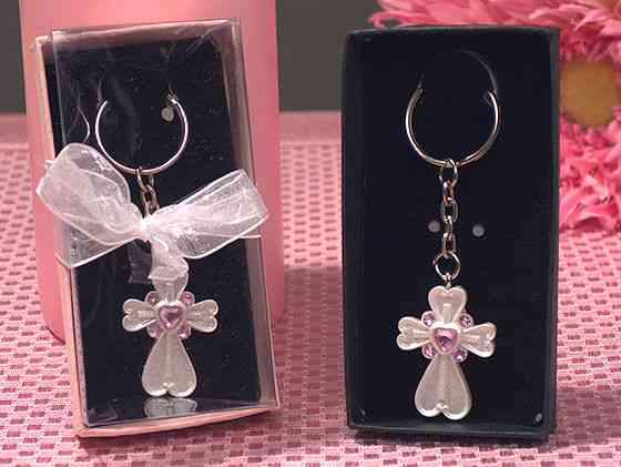 CLEARANCE White Cross Keychain with Pink Crystals baby shower favors