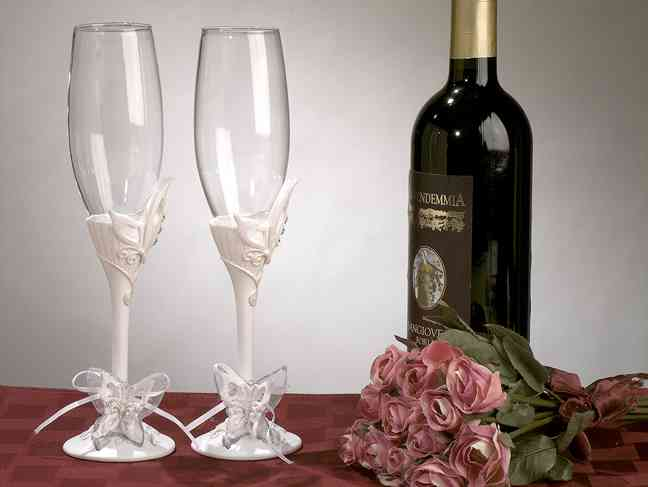 Butterfly Theme Toasting Glass Set200  Weddings