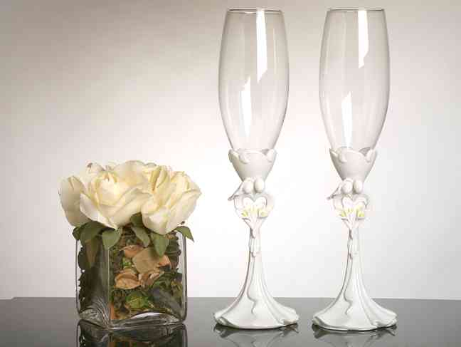 Bride and Groom with Calla Lily Bouquet Toasting Glasses  Weddings