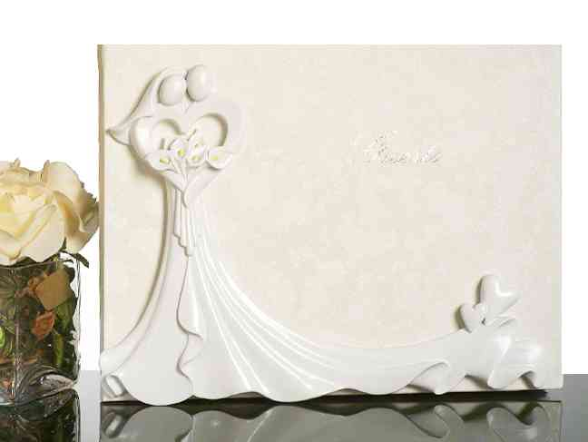 Bride and Groom with Calla Lily Bouquet Guest Book Weddings