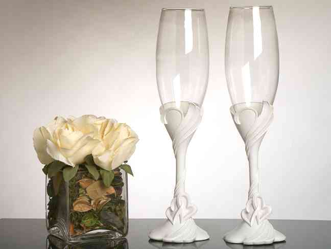 Two Hearts Become One Toasting Glasses200  Weddings