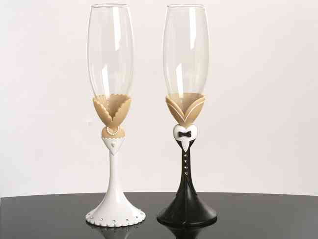 Black Tie Collection Toasting Glasses  Weddings
