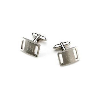 Marlon Brushed Silver Slotted Cufflinks Weddings