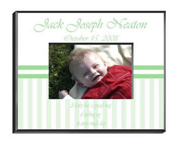 Personalized Neutral Green Baby Frame baby shower favors