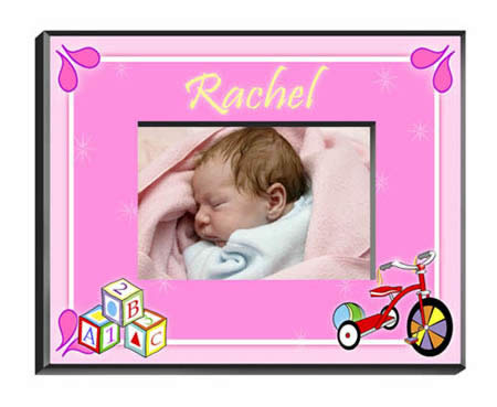 Personalized Baby Girl Blocks Frame baby shower favors