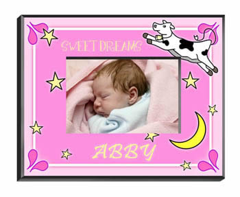 Cow Jumping Over The Moon Frame - Girl baby shower favors