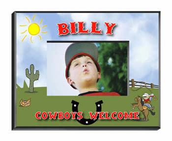 Personalized Little Boy Cowboy Frame baby shower favors