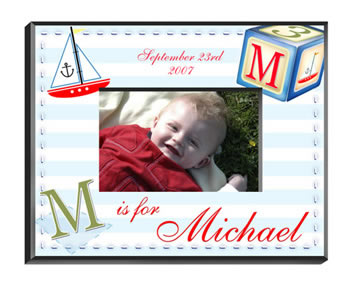 Personalized Sailor Boy Frame baby shower favors