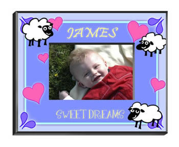 Personalized Boys Counting Sheep Frame baby shower favors