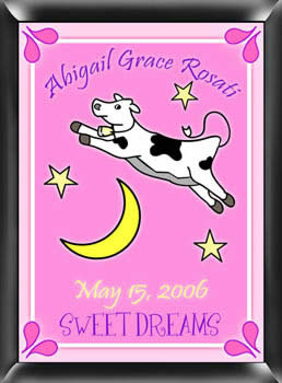 Girls Cow Jumped Over The Moon Sign - Personalized baby shower favors