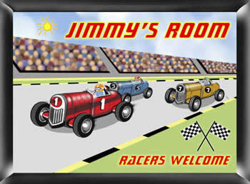 Personalized Racer Bedroom Sign - Racing baby shower favors
