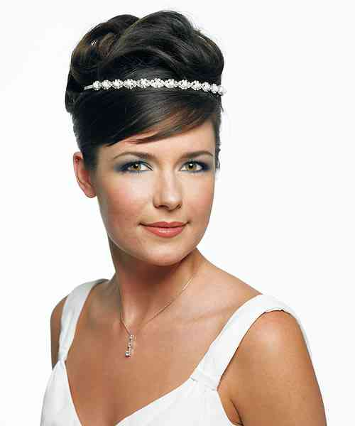 Woven Rhinestone & White Pearl Headband Weddings