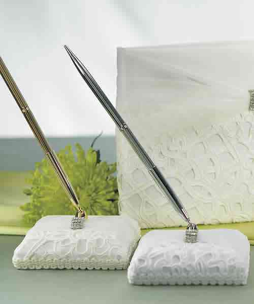 Bridal Tapestry Satin Wrapped Pen Set Weddings